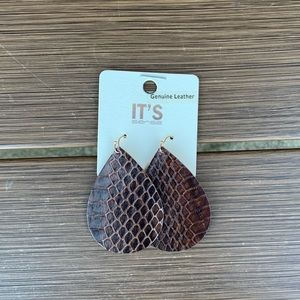 Brown Leather Earrings NWT